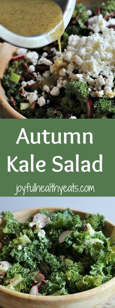 A festive and healthy Autumn Kale Salad, packed with tons of nutrients and perfect for a holiday side dish everyone will love! | joyfulhealthyeats.com
