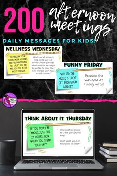 End your school day in a consistently positive and engaging way with these daily themed afternoon meeting whiteboard 5 minute prompts! There are 200 slides, more than enough for one for every day of the school year! School Resources, Teacher Resources, Morning Meeting Activities, Time Activities, Character Education, Character Development, Personal Development, Philosophical Thoughts, Friday Humor