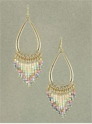 GOLD TONE CLEAR WITH PINK AND BLUE BEADS CHANDELIER EARRINGS
