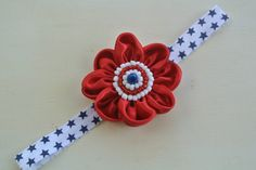 Red White and Blue Flower Headband by ThreeHeartsBowtique on Etsy