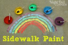 Make your own sidewalk paint with just three ingredients! Great summertime activity for the kids!