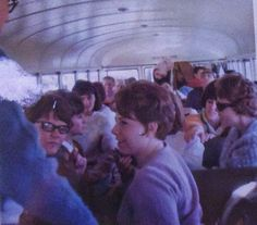 Senior Class Day  Students in bus on way to Squaw Valley, Lake Tahoe, California (r side) Mary Burns, Margie Bertrand, Barbara Tucker (l side) Sharon Grooms, Karen Pursel, Claudia Lommery, Richard Taylor 1966