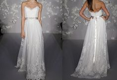 2015 Sweetheart strapless wedding dress, lace wedding dress, bridal dress lace applique