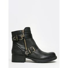 GEMMA BOOTIE (€75) ❤ liked on Polyvore featuring shoes, boots, ankle booties, black, black booties, black bootie, black bootie boots, black buckle booties and black ankle boots