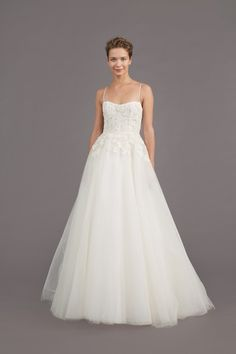"""""""Holland"""" Spaghetti Strap Wedding Dress with Floral Appliques"""