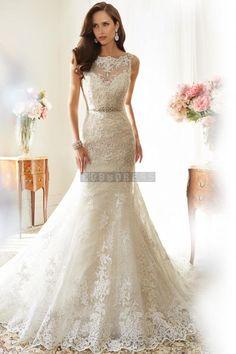 Square Lace Mermaid Beading Lace-up Wedding Dress