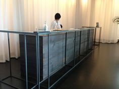 This could work to bring in the steel structure - an additional glass topped of desk