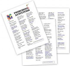 Long List of Activities for Tots and Preschoolers (ages 2-6) | The Homeschool Den