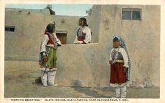 Image detail for -Isleta Pueblo Postcard. It shows three women from the Pueblo of Isleta ...