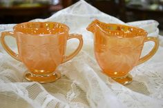 'Anchor Hocking - Fire King' Peach Lusterware Cream & Sugar - So pretty! Just bought me some of these beauties!