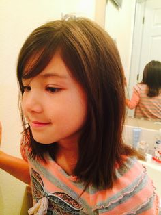 Medium length Little girl hair cut!