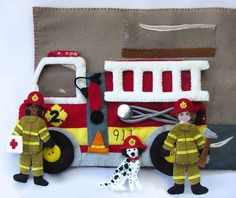 Fire Station Garage, firefighter quiet book page Full tutorial, such beautiful detailed work!