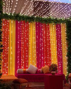 Lighting Decoration Ideas for Mehndi Ceremony Desi Wedding Decor, Wedding Stage Decorations, Backdrop Decorations, Light Decorations, Wedding Mandap, Backdrop Ideas, Wedding Receptions, Wedding Table, Wedding Ideas