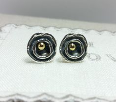 Oxidised silver studs with brass centre, sterling silver, fine silver, silver earrings, delicate, petite, stars - pinned by pin4etsy.com