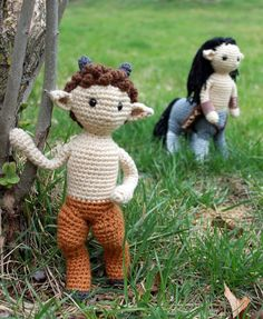 I've always thought that centaurs and fauns could coexist nicely. Both are hand-crocheted. The arms and legs of both have wire inside. The faun is about the size of the centaur, so side-by-side, th...