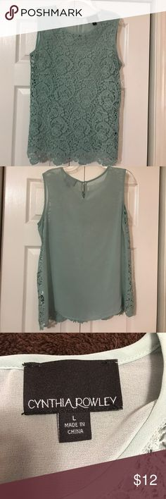 "Cynthia Rowley sleeveless lace front top This Cynthia Rowley top has lace front and sheer back. 26"" from shoulder to bottom. Color is pale teal. Great condition! Cynthia Rowley Tops"