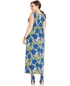 Elementz Plus Size Dress, Sleeveless Printed Maxi - Plus Size Maxi Dresses - Plus Sizes - Macys $33.99