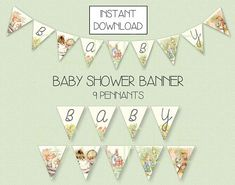 This Peter Rabbit vintage inspired baby banner is a perfect compliment to your baby shower decorations. Your instant download will send 5 files to your email address on file with Etsy. Each pennant/flag is 7 tall. There are 2 pennants/flags per page. There are indicator holes in the top