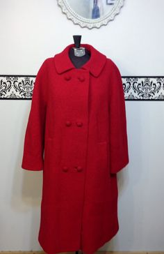 1960's Cherry Red Wool Pea Coat by Stylecraft by RetrosaurusRex