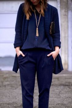 Cardigan: all navy blue outfit, all blue outfit, navy blue caridgan, oversized…