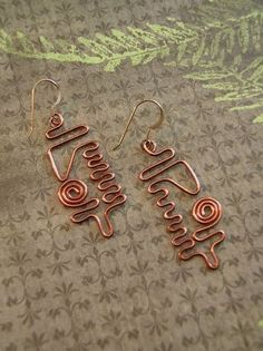 art copper earrings .. very creative