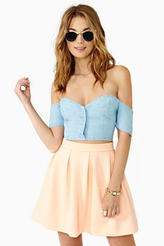 Savannah Chambray Crop Top by Nasty Gal