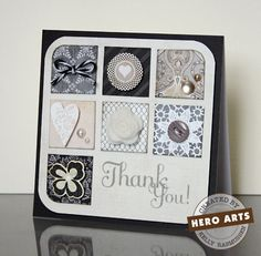 make scraps with embellishments & put in grid leaving room for sentiment; Thank You  By Kelly Rasmussen