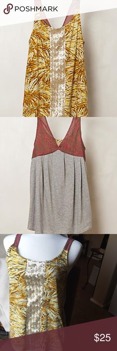 "Anthropologie Tiny- Sequin Stripe Tank dose of shimmer. Tiny's swingy top brings that little something extra with a smattering of sequins. By Tiny Pullover styling Cotton, polyester, plastic Hand wash 25""L Anthropologie Tops Tank Tops"