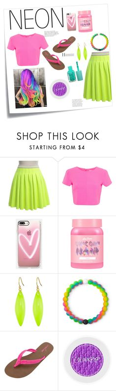 """Never not Neon"" by livvydubs ❤ liked on Polyvore featuring beauty, Post-It, Manoush, Miss Selfridge, Casetify, Lime Crime, Alexis Bittar, Lokai, Volcom and contest"