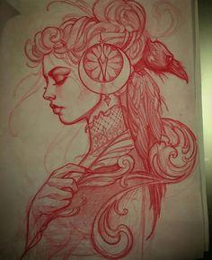 Red pencil sketch by Jeff Norton : Original Art Body Sketches, Tattoo Sketches, Tattoo Drawings, Drawing Sketches, Body Art Tattoos, Pencil Drawings, Girl Tattoos, Sleeve Tattoos, Art Drawings
