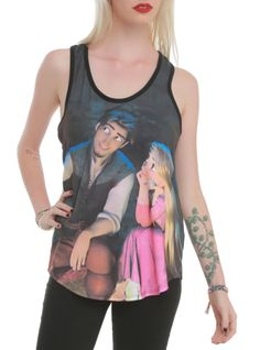 Racer back tank top from Disney's Tangled with a dreaming couple sublimation print design on front.