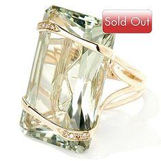 14K Gold Prasiolite (green amethyst) & Brown Diamond Ring.
