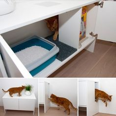 Clever cabinet for cat litter box
