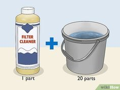 4 Ways to Clean a Cartridge Type Swimming Pool Filter - wikiHow Swimming Pool Filters, Above Ground Swimming Pools, Cleaning Chemicals, Compressed Air, Garbage Can, Pool Cleaning, Pool Water, Plastic Containers, Water Supply