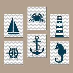 COASTAL NAUTICAL Wall Art, Baby Boy Nautical Nursery Artwork, Ocean Bathroom Decor, Sailboat Anchor Lighthouse Crab,CANVAS or Print,Set of 6