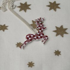 CIJ 20% off  Fair Isle Reindeer Necklace by LaurasJewellery