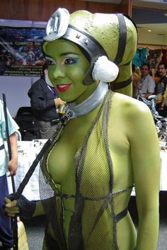 Cosplay of Oola, the Twi'lek dancer in Jabba the Hutt's court. And as long as we're comparing green aliens, I think she's way cuter than the green Orion slave girl from Star Trek...
