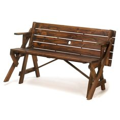 I like the dark wood of this bench. I've been looking for a bench that'll go with the decorations in my yard. It's cool that this can be a bench, but converted into a table if need be!
