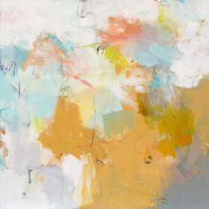 "Charlotte Foust, ""Sunflower and Aqua"", Oil on Canvas, 48x48 - Anne Irwin Fine Art"
