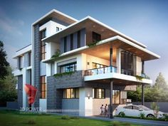 Cute Modern House Plan By Dream Houses 3 Storey House Design, Bungalow House Design, House Front Design, Small House Design, Modern House Design, Bungalow Designs, Modern Bungalow Exterior, House Design Pictures, Architectural House Plans