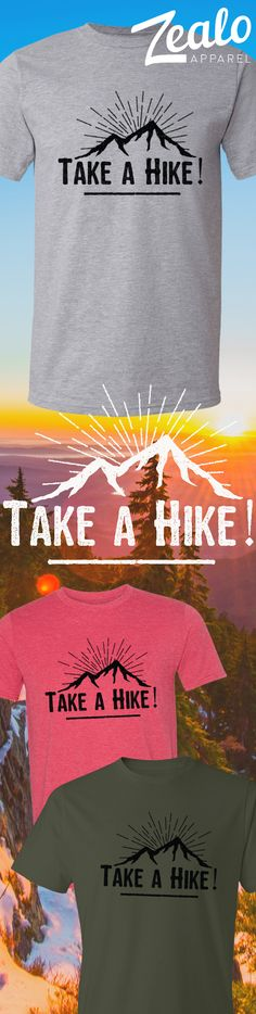 Hiking tshirt with distressed effect mountain logo. https://zealo-apparel.myshopify.com/collections/wilderness-collection/products/take-a-hike-t-shirt-various-colors