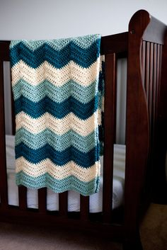 Blue Crochet Baby Blanket Teal Cream and Seafoam Zig by AllStuftUp, $57.00
