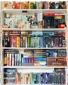 I wish my nerd corner was this organized^^ Dream Library, Library Books, I Love Books, Books To Read, Bookshelf Inspiration, Images Harry Potter, Book Aesthetic, Shelfie, Book Nooks