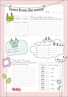 Emergency Contact Form and daily schedule for nanny | Baby ...