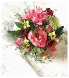 Rustic Hand Tied Wedding Bouquet. This wedding bouquet is made of dahlias, peonies and roses.