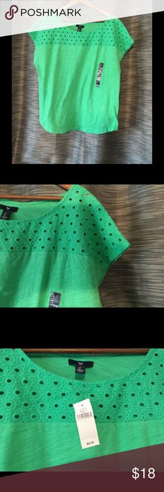NWT. Gap soft green top with detailed neck. Super soft green short sleeved top with patterned cut out detailing on the neckline/yoke.  100% cotton.  New with tags.  Perfect for spring and summer.  Very versatile and flattering.  All of my items are from a smoke/pet free environment. Gap Tops Tees - Short Sleeve