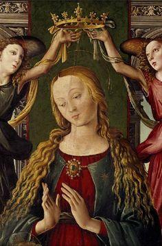 MAESTRO DEL ESPIRITU SANTO LA VIRGEN CORONADA POR DOS ANGELES 1500