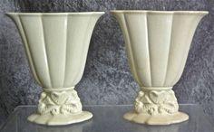 Cowan Pottery Small Seahorse Fan Vase Pair, Ivory, Ca. 1926