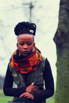 Rastaman Vibration  OOAK Handmade Kente Snood  by manakahandmade, £25.00