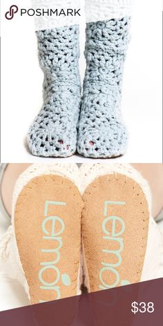 🌙Lemon White Crochet Mukluks These handmade slippers keep your toes toasty with a cozy knit and plush construction, while a leather sole adds structure and durability.  Fits sizes 5.5 to 11 Acrylic upper Pig leather sole Machine wash; tumble dry Lemon Shoes Slippers